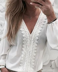 Shop Lace Trim Lantern Sleeve Chiffon Blouse right now, get great deals at Divasruby. Pattern Fashion, Blouses For Women, Ladies Blouses, Sleeve Styles, Lace Trim, Trendy Outfits, Ruffles, Womens Fashion, Latest Fashion