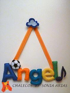 Felt name for Angel's room. Felt Name Banner, Name Banners, Crochet Letters, Quilling Designs, Felt Diy, Ladybug, Baby Room, Baby Shower, Angel