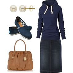 A fashion look from November 2012 featuring Fat Face sweatshirts, Linea Weekend skirts and TOMS flats. Browse and shop related looks.
