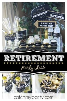 Retire in style with this great retirement party! The photo booth props are real. - Featured Parties from Catch My Party , Military Retirement Parties, Teacher Retirement Parties, Retirement Decorations, Retirement Celebration, Retirement Party Decorations, Retirement Cakes, Happy Retirement, Ideas For Retirement Party, Retirement Planning