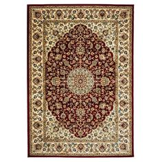 Rizzy Home Chateau Framed Floral Rug, Red