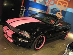 Yesssss!  Pink/Black Mustang Convertible ☆ Girly Cars for Female Drivers! Love Pink Cars ♥ It's the dream car for every girl ALL THINGS PINK!