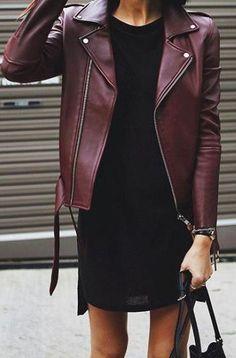 burgundy moto leather jacket. black shift dress. #streettyle.