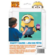 """Pin the tail on the donkey, Despicable Me 2 style! - For 16 kids - Despicable Me Party Game includes 16 self-stick game pieces, 1 15"""" x 19"""" game sheet, 1 blindfold and instructions - Easy party activi"""