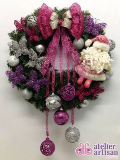 I like this, esp the colors.but minus the Santa. Christmas Wresth, Homemade Christmas Wreaths, Silver Christmas Tree, Christmas Tree Design, Purple Christmas, Xmas Wreaths, Merry Christmas And Happy New Year, Christmas Lights, Christmas Crafts