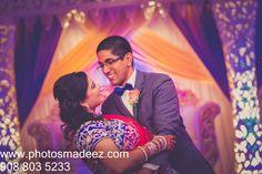 Bride and Groom at first dance at Indian Wedding Reception at Jumping Brook Country Club. Best Wedding Photographer PhotosMadeEz . Award Winning Photographer Mou Mukherjee . Along with DJ Gaurav and Abhishek Decors.