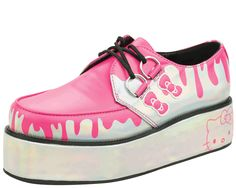 Iridescent with pink drip vegan creeper on iridescent wrapped sole | T.U.K. Shoes