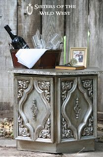 Antiqued silver finish using Rustoleum aluminum paint and a brown glaze.