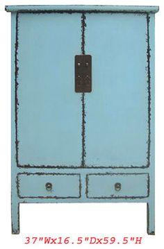 Tall chino antiguo estilo Ming azul Laca Gabinete Armario contemporáneo muebles