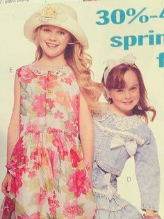 Kirsten Dunst and Lindsay Lohan Before they became the queen bees of early 2000s teen movies, Dunst and Lohan modeled incredibly frilly children's fashion in a catalog together. We're not so sure Torrance Shipman or Cady Heron would approve of these looks.