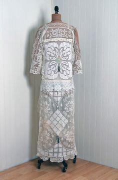 1920's Ivory-White Filet Crochet Lace & Beaded Silk-Net Gown 6