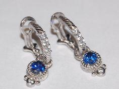 Judith Ripka Blue Shire Earrings 925 Thailand Stamped 6 9 Gr Stud Backsams Starting Bid