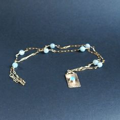 Gold Filled Pendant Necklace, Chalcedony Necklace, Dog Tag Pendant,Light Blue Gemstone Jewelry,  Minimalist Jewelry, Shillyshallyjewelry by ShillyShallyjewelry on Etsy