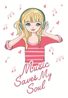 fashion music illustration girl/illustration girl listening to music/girl vector/girl pattern/girl graphic Musik Illustration, Illustration Girl, Music Artwork, Music Images, Cute Wallpaper Backgrounds, Kids Prints, Anime Art Girl, Music Quotes, Listening To Music