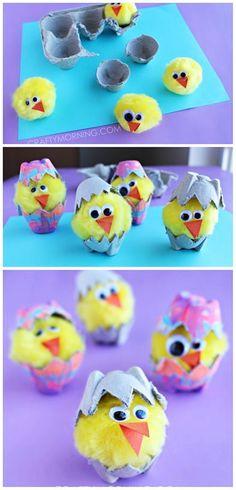 40 Simple Easter Crafts for Kids - Egg Carton Hatching Chicks Spring Crafts For Kids, Easter Art, Easter Projects, Easter Crafts For Kids, Toddler Crafts, Crafts To Do, Diy For Kids, Easter Eggs, Easter Decor