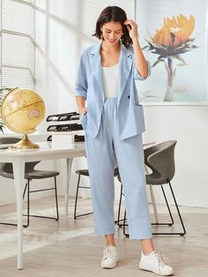 Stripes Fashion, Professional Outfits, Two Piece Outfit, Cami Tops, Straight Leg Pants, Types Of Sleeves, Casual, Cool Outfits, Fashion Looks