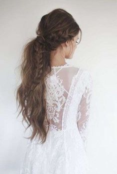 Peinados con coleta para novias: Pony tail de boda [FOTOS] - Coleta baja para melena larga