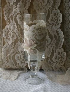 Vintage lace centerpieces for candles and flowers