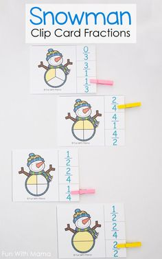 These elementary grade snowman fractions clip cards are great for practicing math skills and strengthening fine motor skills. via @funwithmama