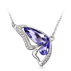 LOVE Beauties Dancing Butterfly Platinum/white Gold Plated Austrian Crystal Swarovski Elements Crystal Pendant Necklace for Women in a Gift Box *** Awesome product. Click the image : Jewelry Necklaces
