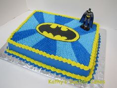 Batman cake - All buttercream.  I copied the design from a cake I saw on Pinterest.