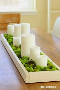 wooden tray with Moss and Candles for a Simple Spring Centerpiece White Candles, Diy Candles, Candle Centerpieces For Home, Centerpiece Ideas, Moss Centerpieces, Pillar Candles, Diy Candle Tray, Spring Home Decor, Hall