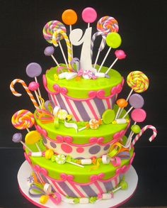 Candyland Cake Personalized Candyland Birthday party outfit idea Candyland@ i need this cake! Candy Theme Cake, Candy Birthday Cakes, Candy Cakes, Birthday Cake Girls, Candy Party, Cupcake Cakes, 10th Birthday, Happy Birthday, Piece Of Cakes