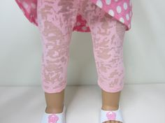American Girl doll clothes - Light pink  burn out knit leggings.