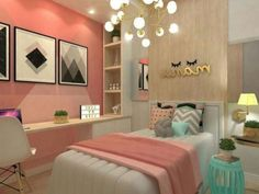 Teen girl bedrooms, pop to this suggestion for a lovely plush teen girl room decor, example number 4323103216 Cozy Bedroom, Dream Bedroom, Modern Bedroom, Bedroom Decor, Master Bedroom, Decor Room, Pink Bedrooms, Teen Girl Bedrooms, Teen Bedroom Colors