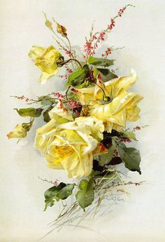 Catherine Klein, Art Floral, Garden Of Earthly Delights, Rose Pictures, Decoupage Vintage, Mellow Yellow, Art Pages, Yellow Roses, Watercolor And Ink
