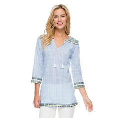 PAGET EMBROIDERED TUNIC IN MINI GRECIAN GARDEN