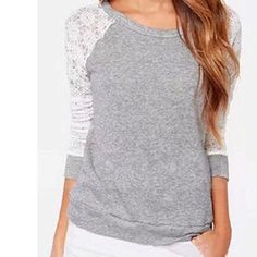 """👕Lace Top👕 Grey Lace Sleeve Top Tag says 2X but the Dress Form is a 12-14 and you see how it fits-Shoulder to Hem is 21.5""""-Sleeves 21.5"""" and can be Worn 3/4 sleeve-Know Your measurements before Purchasing-Price Firm unless bundled for the discount‼️‼️‼️ Tops"""