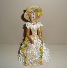 Antique Folk Art Shell Work Doll #3