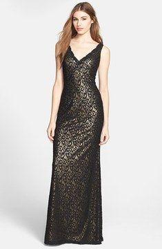 Aidan Mattox Lace Overlay Metallic Gown on shopstyle.com