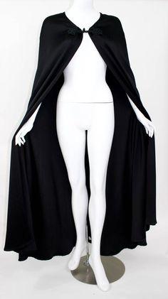 Valentino Haute Couture Vintage Black Silk Satin Cape 4