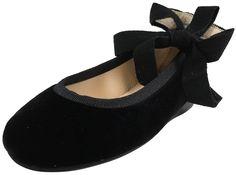 Papanatas by Eli Girl's Cloe Black Ribbon Tie Flats