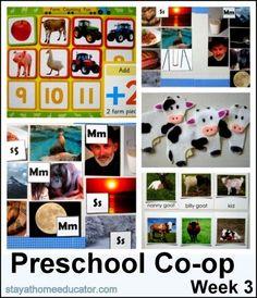 Preschool Co-op Week 3  - Farm Theme
