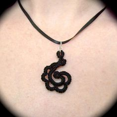 Tatted Lace Pendant  - Flourish - Choose Your Color via Etsy