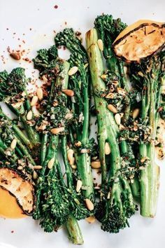 Broccolini with Grilled Lemon, Pine Nuts and Aleppo Chile The entire vegetable is edible, but my favorite part is the stalk. To me, the flavor is less bitter than broccoli and with a sweetness that is closer to asparagus without the astringency. Side Dish Recipes, Veggie Recipes, Whole Food Recipes, Vegetarian Recipes, Cooking Recipes, Healthy Recipes, Pine Nut Recipes, Green Vegetable Recipes, Paleo Side Dishes