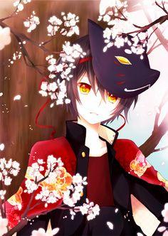 *:・゚✧*:・゚✧*:・゚✧*:・゚✧*:・゚✧*:・゚ Anime boy   black hair   yellow eyes   short hair   black mask   cherry blossoms   cool   cute *:・゚✧*:・゚✧*:・゚✧*:・゚✧*:・゚✧*:・゚