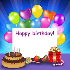 Happy Birthday Background with Cake and Balloons | Gallery Yopriceville - High-Quality Images and Transparent PNG Free Clipart