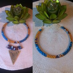 Collier deux en un en tissu africain wax : Collier par kla