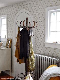Cutting Edge Stencils - Harlequin Trellis Stencil Accent Wall in Foyer