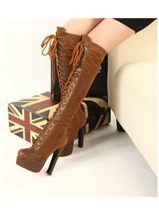2013 New Arrival Suede Lace-Up Chunky Heel Platform Knee High Boots