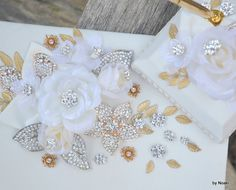 Gold and silver leaf and ivory flower wedding guest book by Noaki
