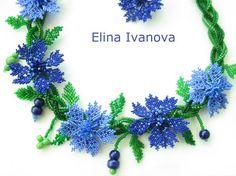Cornflower necklace from Elina Ivanova - basic schema. #Seed #Bead #Tutorials