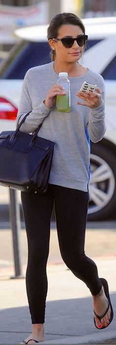 Lea Michele's high-low look: Havainas 'Top' Sandal and Saint Laurent 'Classic Sac De Jour' small bag
