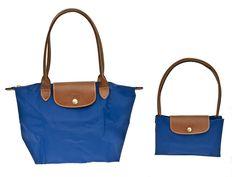 "9 LONGCHAMP - Le Pliage - medium shoulder tote in blue - 9.75""W x 9.75""H x 5.5""D - style 89-2605 $140 Contact BLU'S at shop@blus.com to order  #longchamp #blusonyou #spring2015 #lepliage #tote #handbags #handbag #edmonton #calgary"