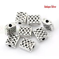 100Pcs antique argent or bronze Tube Charm Spacer Beads 8 mm 6 mm