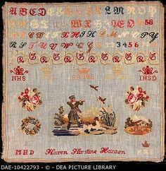 Giclee Print: Denmark, Woolen Beginners Work, Embroidered on Cotton, 1858 : Cross Stitch Samplers, Cross Stitch Patterns, Whitman Sampler, Christmas Cross, Christmas Stuff, Embroidery Sampler, Find Art, Framed Artwork, Giclee Print